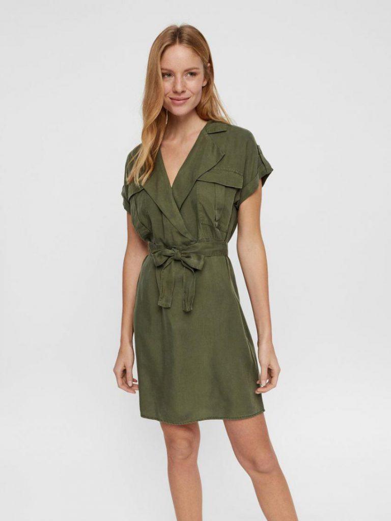 Veromoda Kleider  Damen Kurzärmeliges Blusenkleid Grün