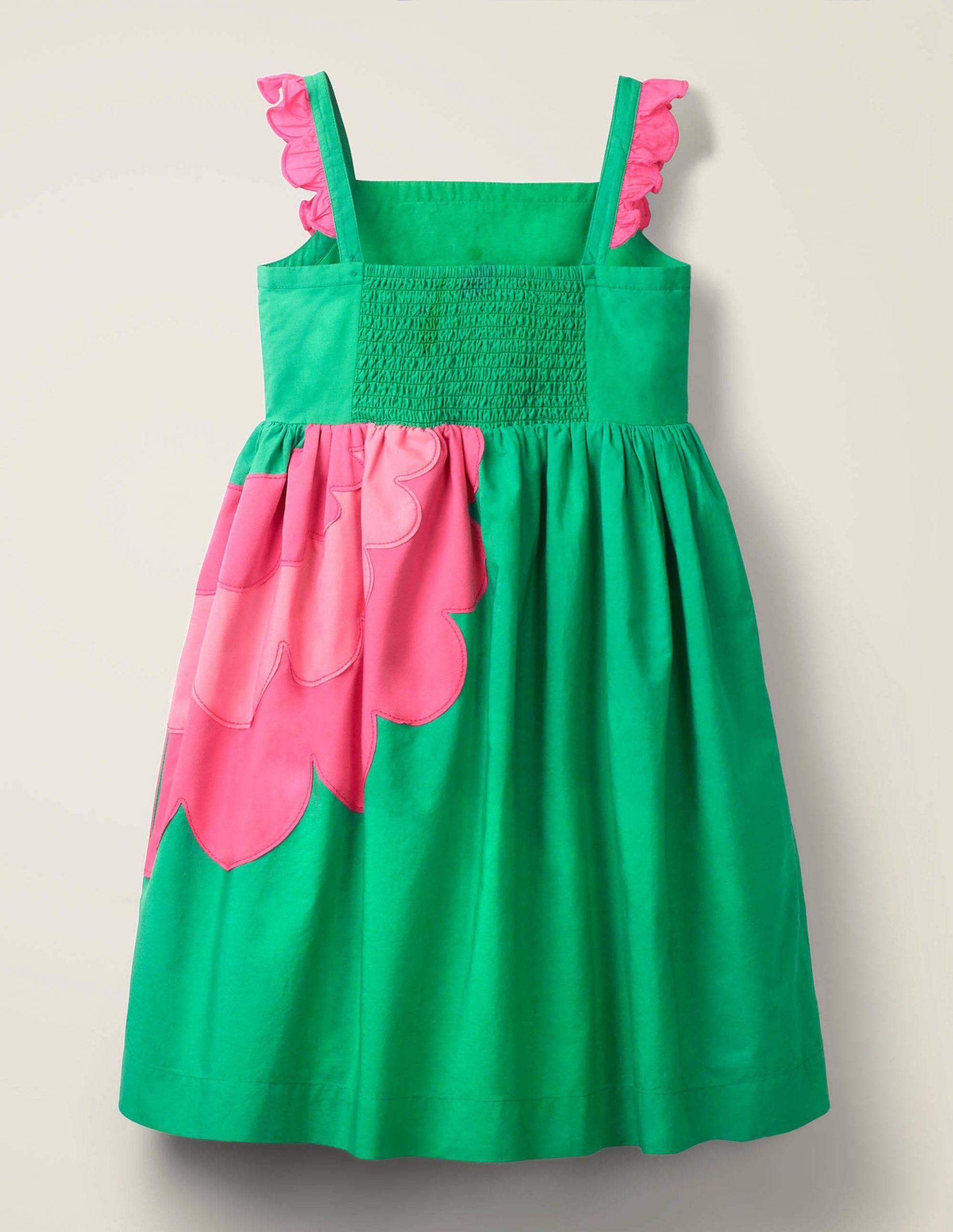 Verziertes Kleid Mit Rüschenträgern  Smaragdgrün