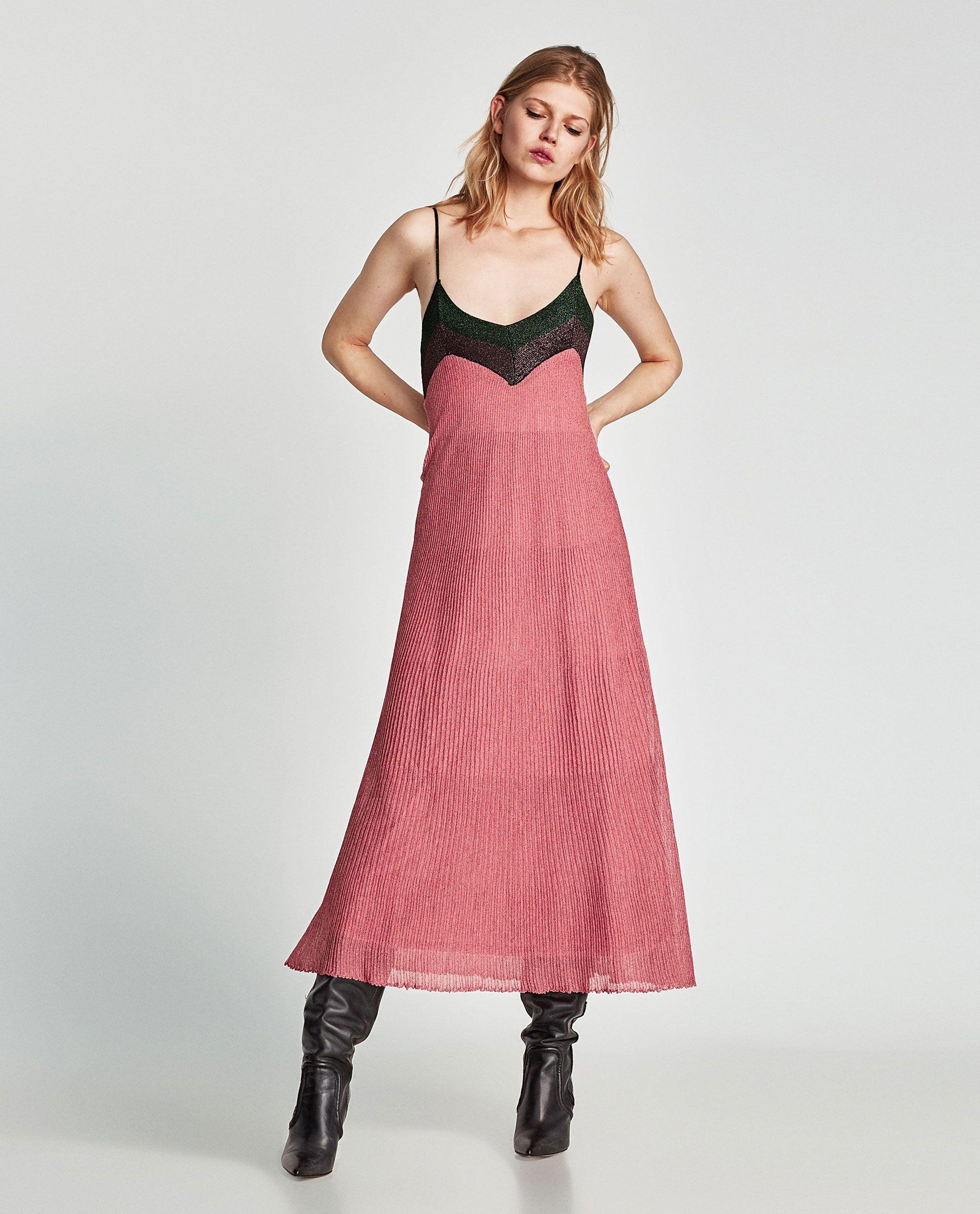 Vestido Contraste Brillo  Kleider Damen Glitzer Kleid