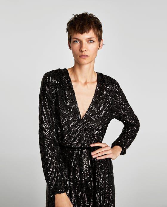 Vestido Cruzado Lentejuelas  Wickelkleid Zara Damen Kleider