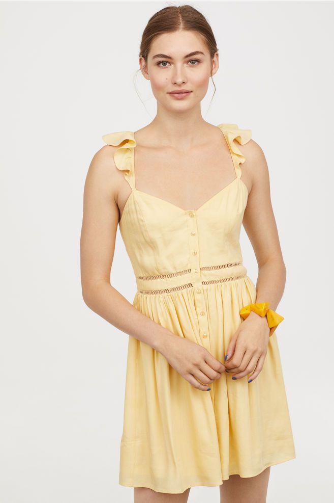 Vestido Curto  Amarelo Claro  Senhora  Hm Pt  Kurze