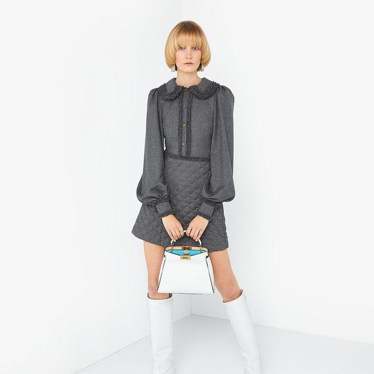 Vestido De Franela Gris  Vestido  Fendi In 2020  Graues