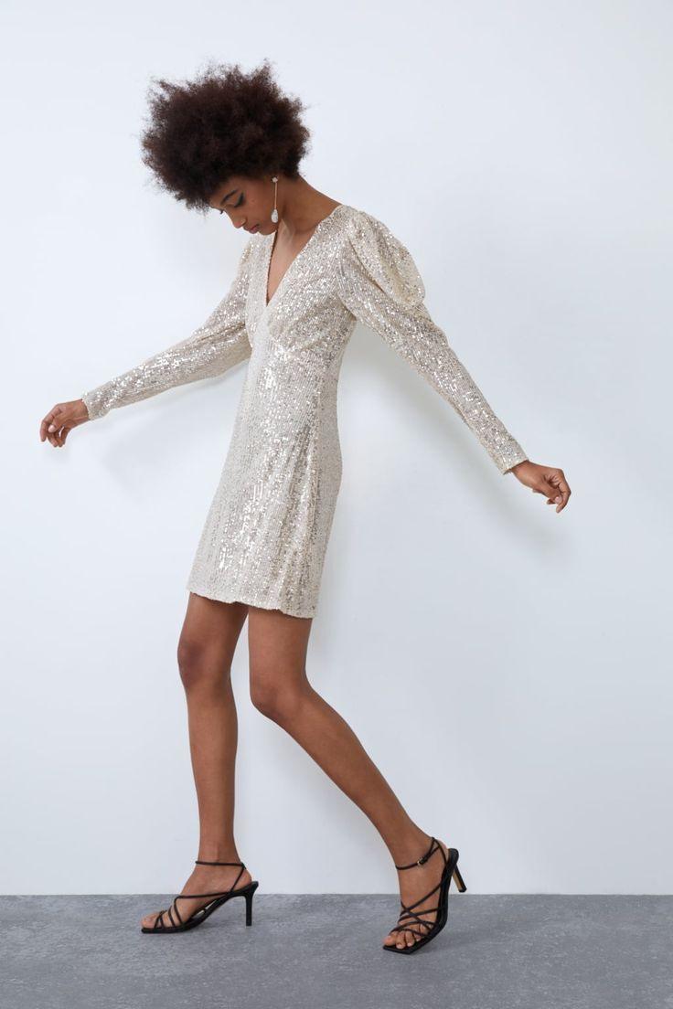 Vestido Lentejuelas  Zara España In 2020  Kleider