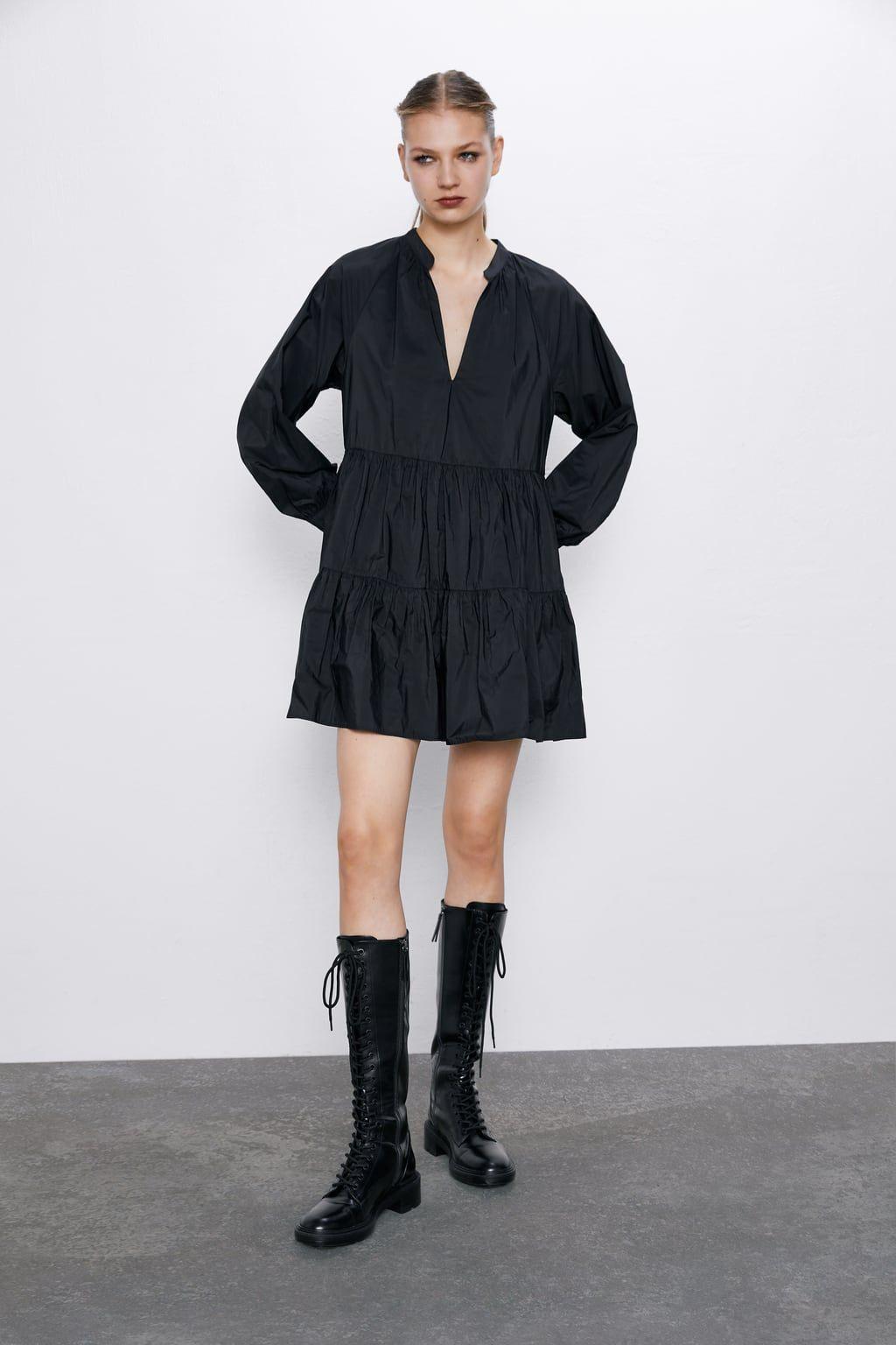 Vestido Mini Tafeta  Kleider Modestil Minikleid