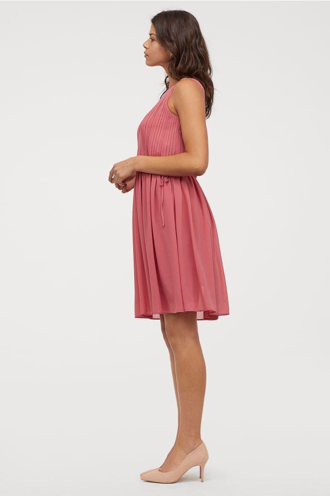 Vestido Plisado De Gasa  Rosa Oscuro  Mujer  Hm Es