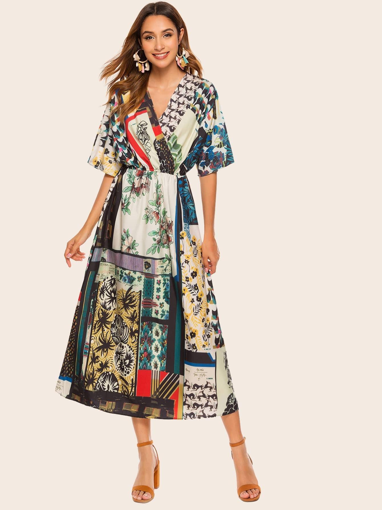 Vielfarbig Folkloristisch Boho Kleider  Shein