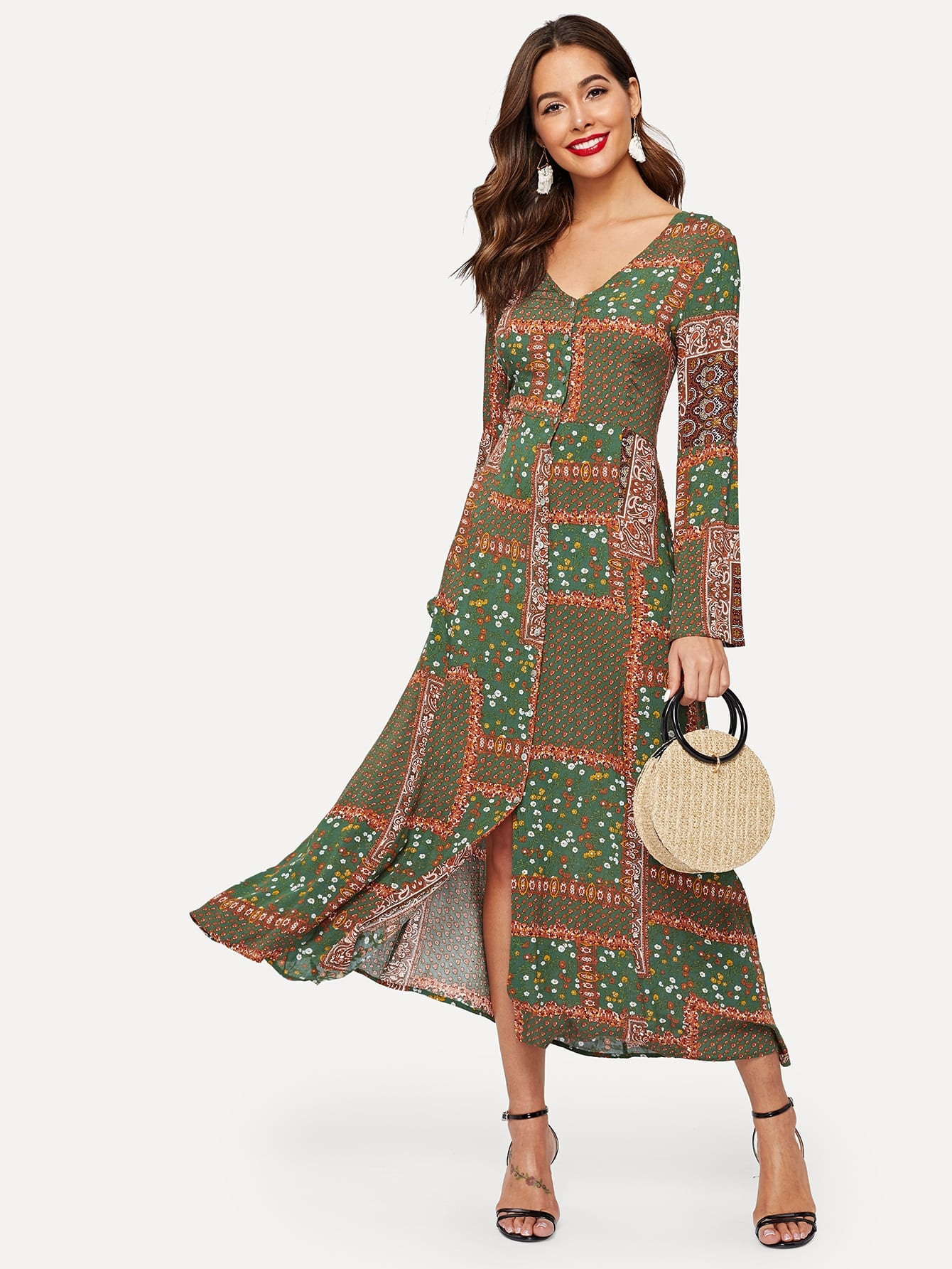 Vielfarbig Knöpfe Folkloristisch Kleider  Shein