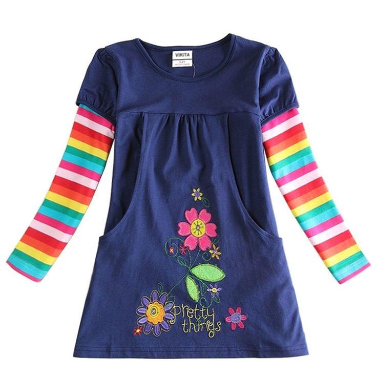 Vikita Vikita Mädchen Blumen Langarm Baumwolle Kleid 28