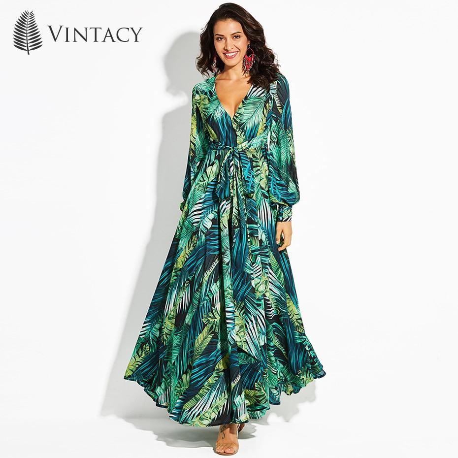 Vintacy Women's Maxi Dress Floral V Neck Plant Print Lace