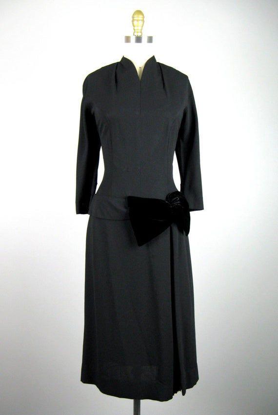 Vintage 1940Er Jahre Schwarz Pleated Rayon Kleid 40Er