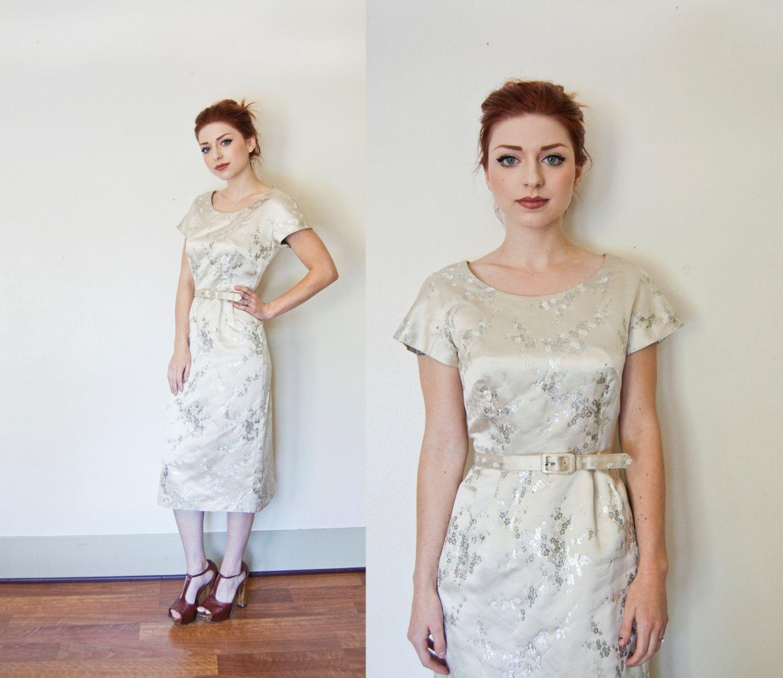 Vintage 50Er Jahre Kleid Silber Von Dejavintageboutique
