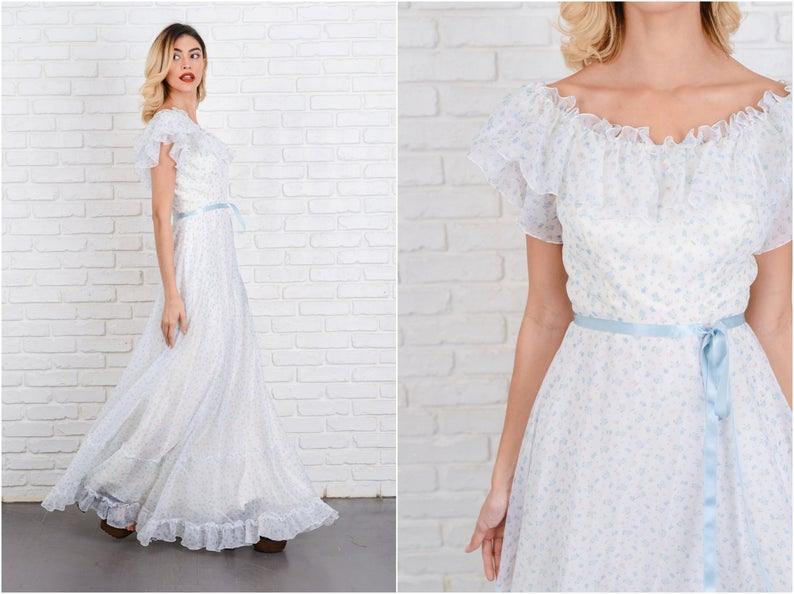 Vintage 70Er Jahre Boho Kleid Elfenbein Weiß Hochzeit Blau