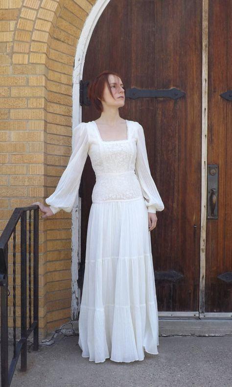 Vintage 70Er Jahre Gunne Sax Kleid Hippie Hochzeit Braut