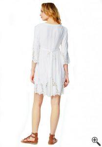 Vintage Boho Kleid Weiß Boho Style Outfit  Kleider