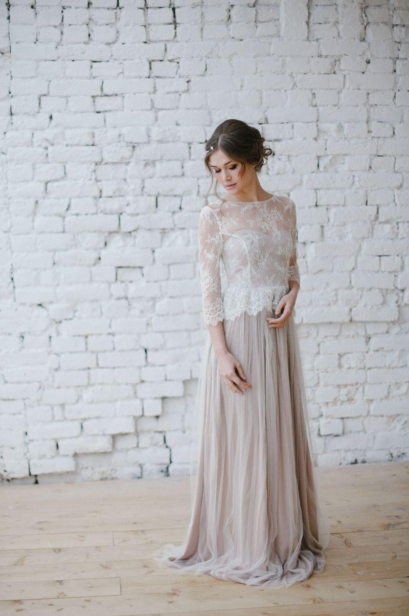 Vintage Brautkleid Tüll Brautkleid Farbe Brautkleid