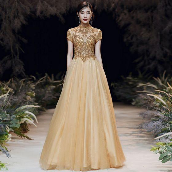 Vintage Gold Durchsichtige Abendkleider 2020 A Linie