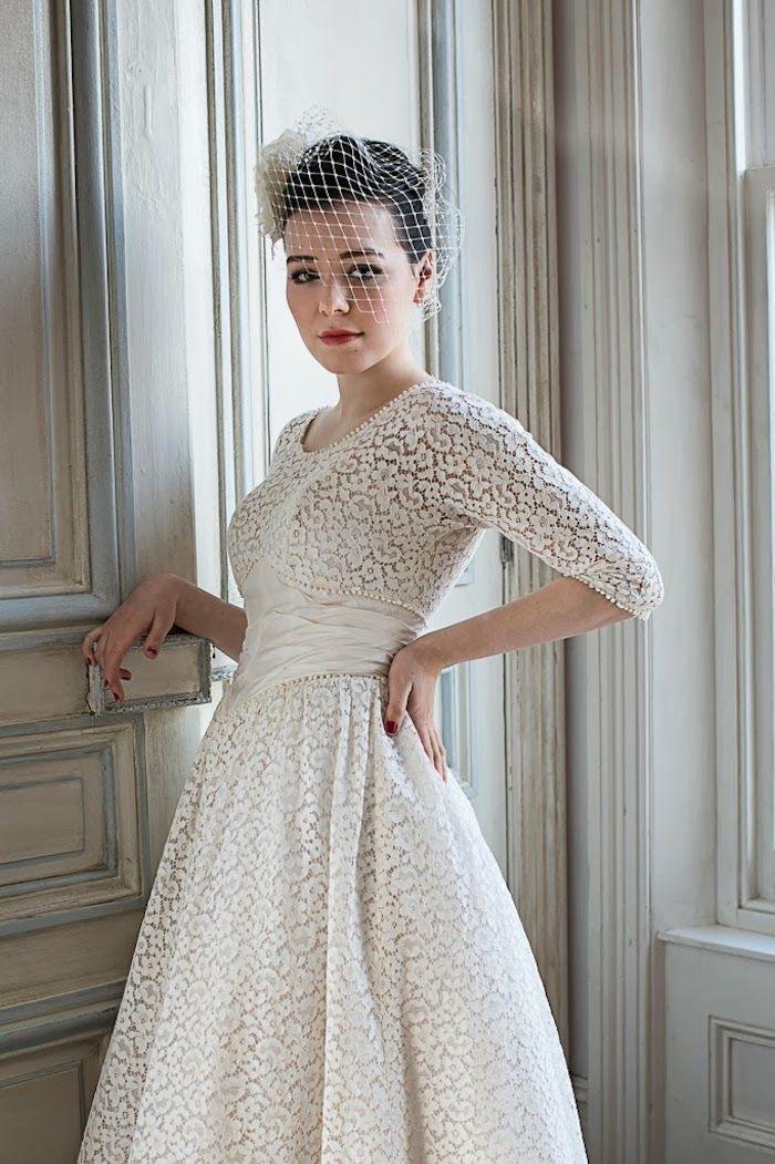 Vintage Hochzeitskleid In Alinie Makeup Im Retro Stil