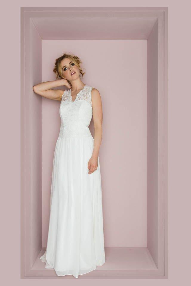 Vintage Hochzeitskleid Mit Spitzenträgern Und