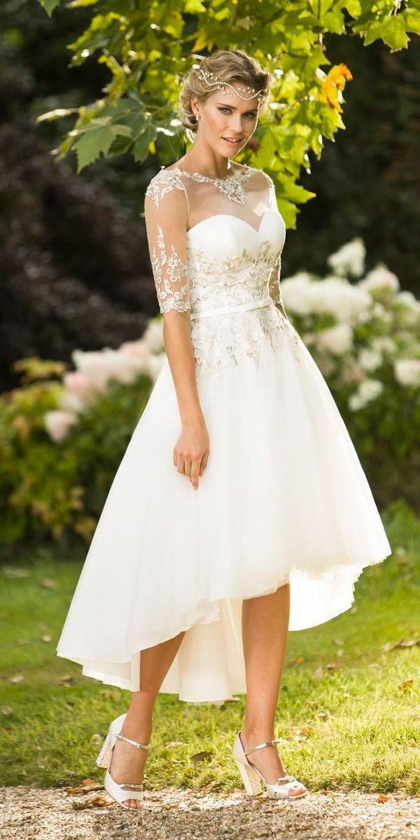 Vintage Inspired Wedding Dresses Mid Length Illusion