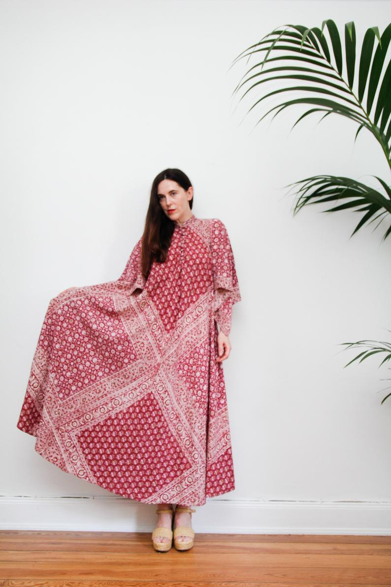 Vintage Kaftan Indische Baumwolle Kleid Boho Kleid Hippie