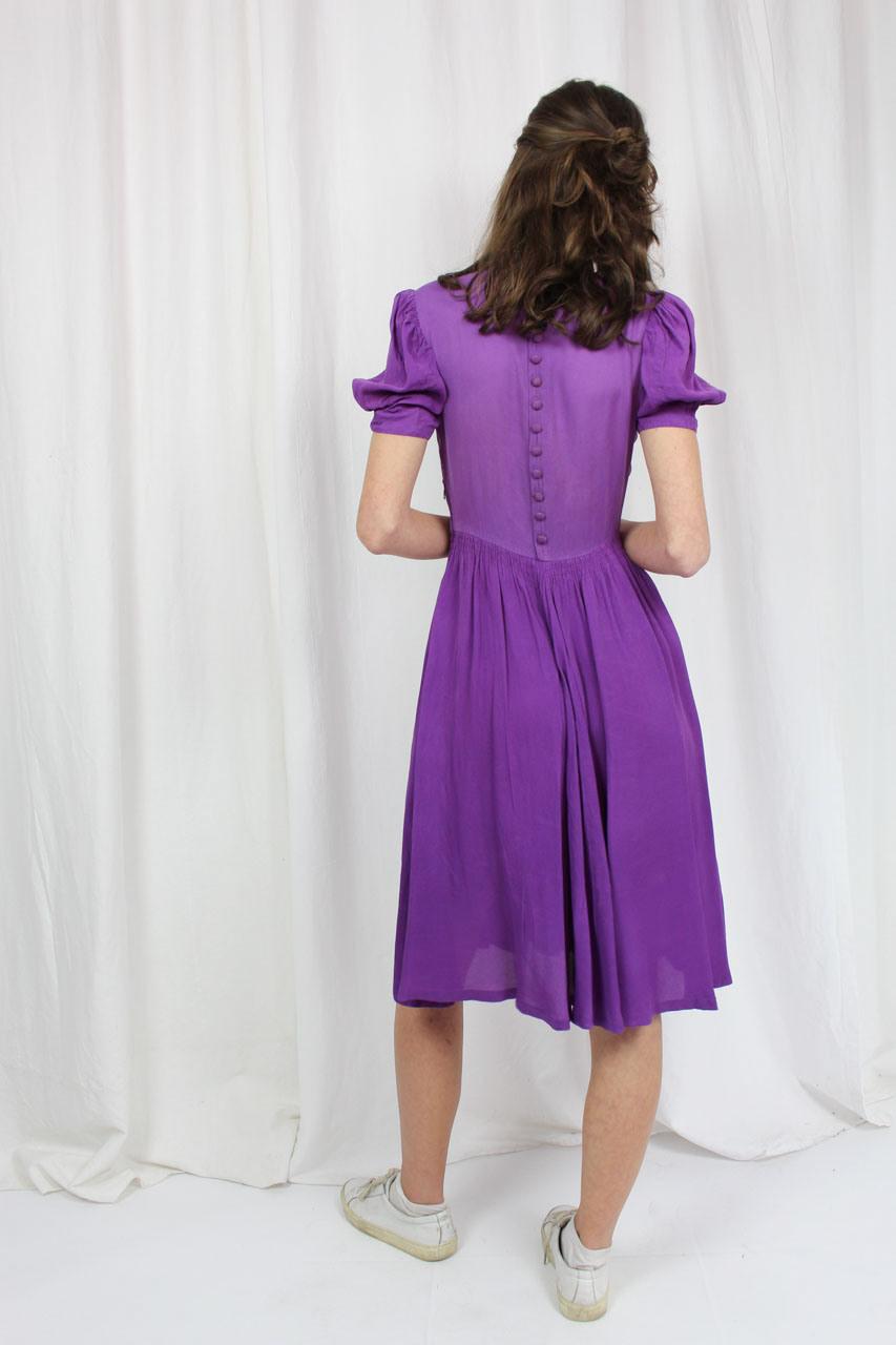 """Vintage Kleid Lila Mit Puffärmeln """"Emilia""""  Oma Klara"""