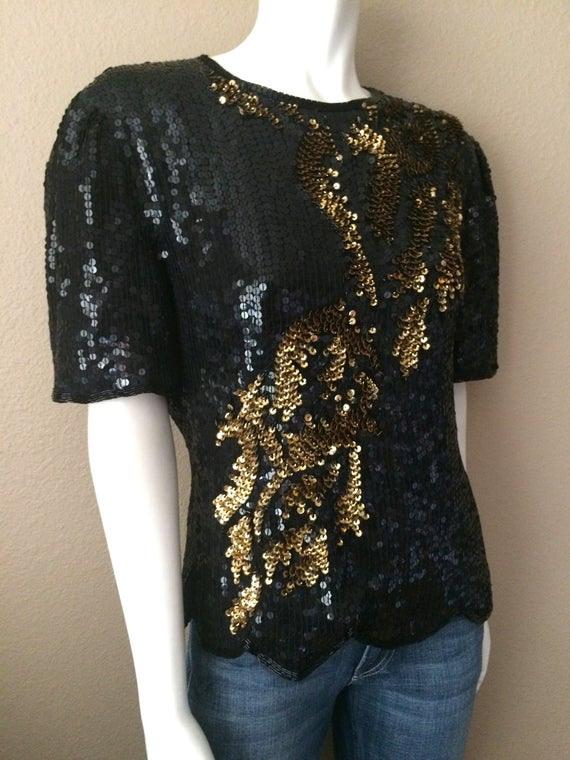 Vintage Kleidung Damen 80Er Pailletten Bluse Langarm Schwarz