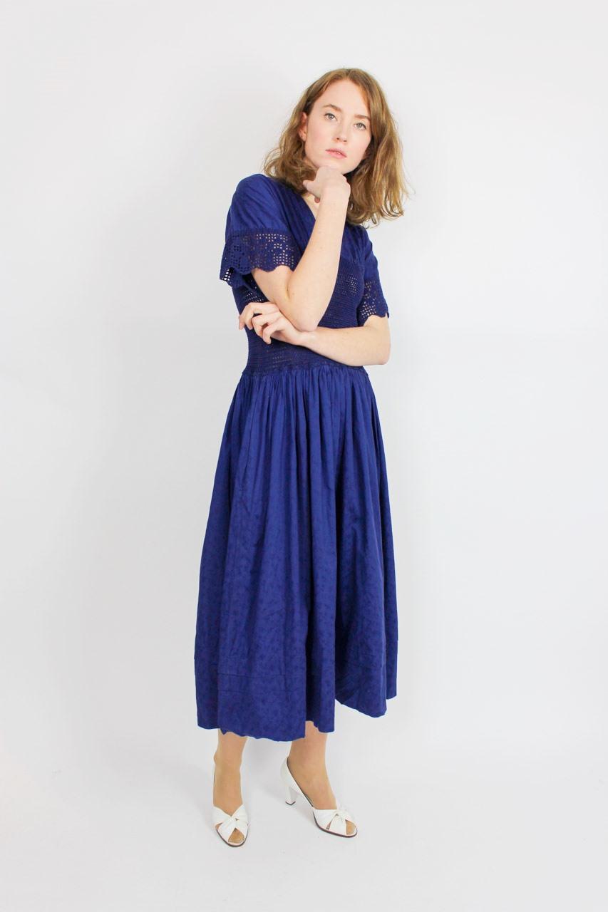 """Vintage Maxikleid Blau """"Gisela""""  Oma Klara"""