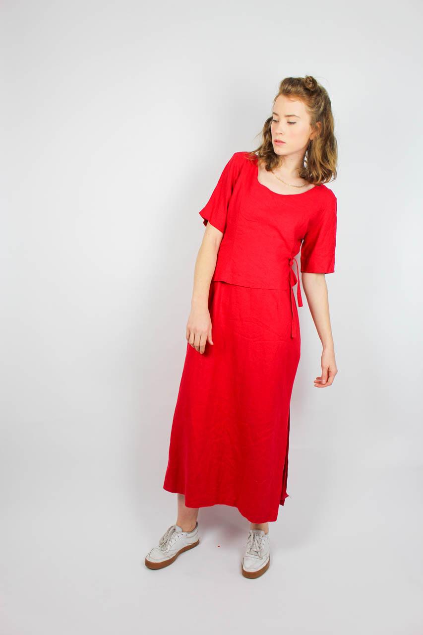 """Vintage Maxikleid Rot Kurzarm """"Nina""""  Oma Klara"""