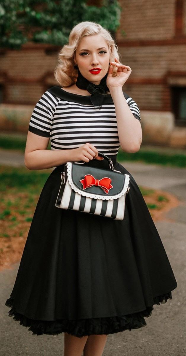Vintage Mode 50Er Jahre Stil Streifen Kleid  Darlene