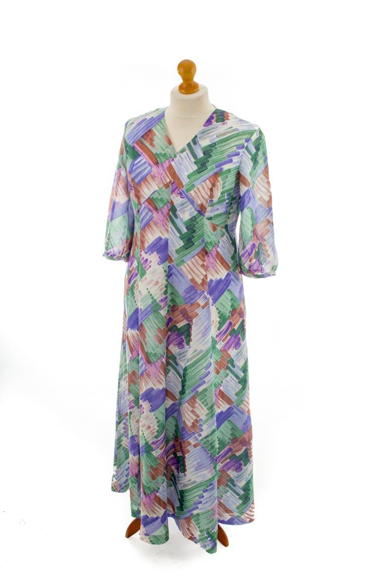 Vintage Orig 70Er Boho Hippie Kleid Lang Weiß Bunt