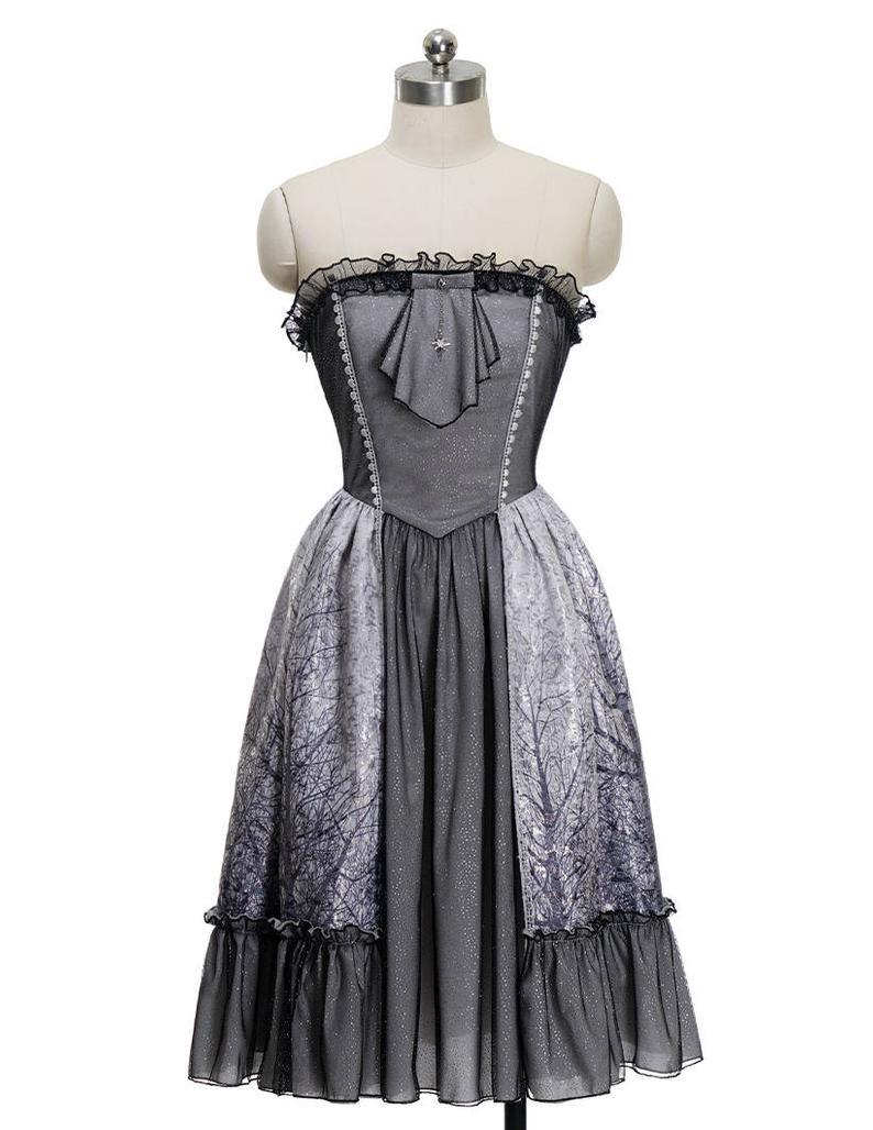 Vintage Retro Womens Midi Kleid Korsett Strapless Jacquard