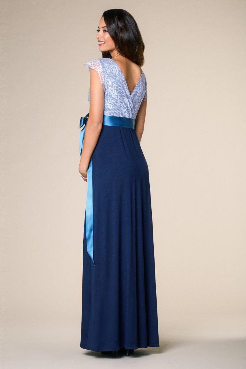 Vintage Rose Umstandskleid Blau Lang  Festliche