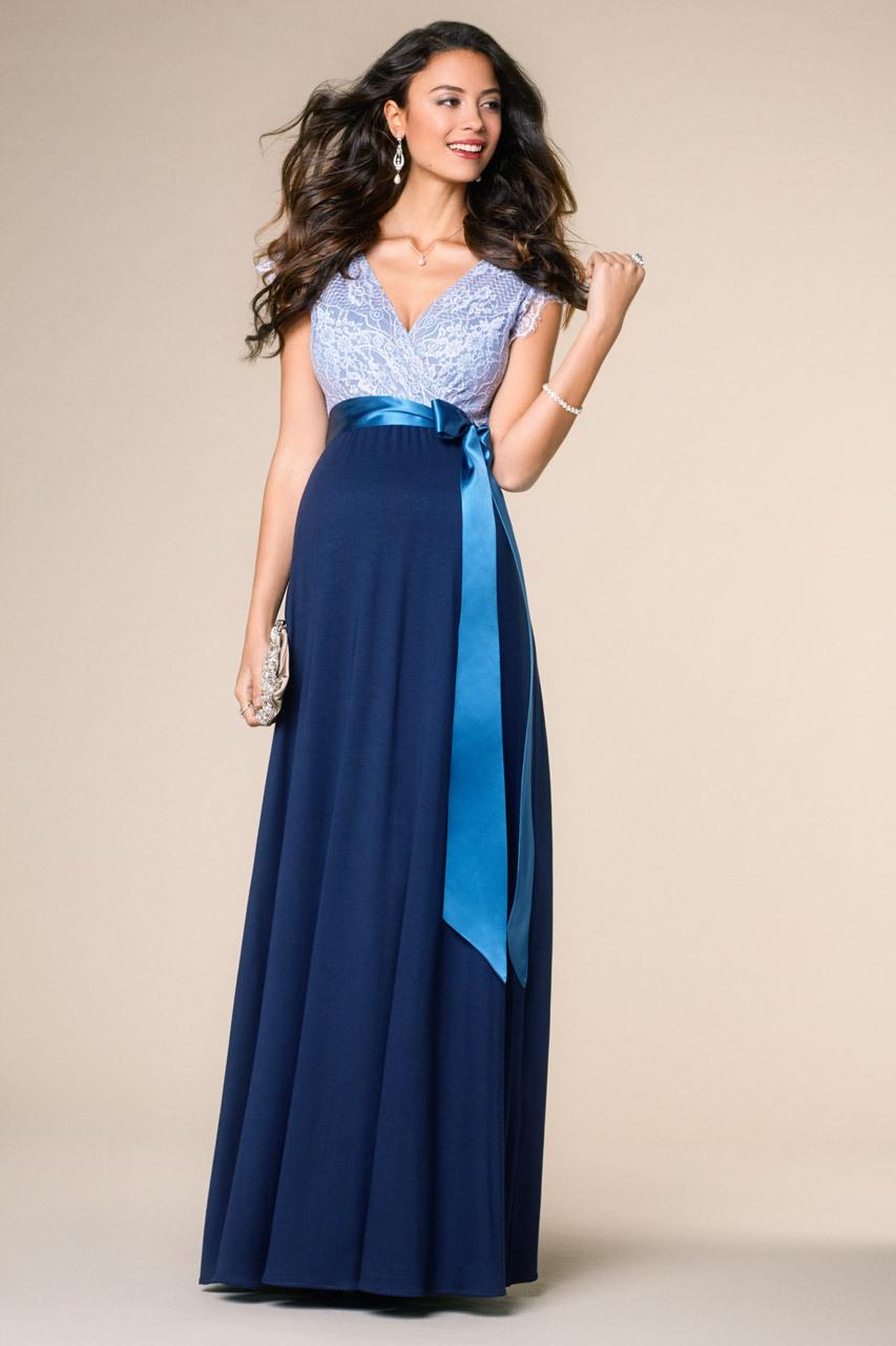 Vintage Rose Umstandskleid Blau Lang  Kleider Lang
