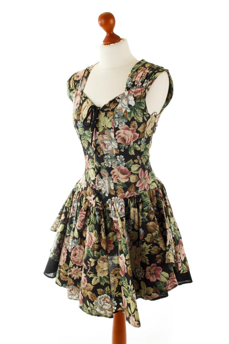 Vintage Sommerkleid Bunt Blumen Tanzkleid Rockabella 80S