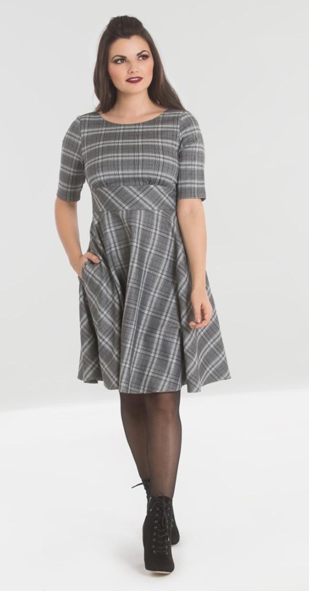 Vintage Stil Kleid  Frostine Mid Dress  Grau Kariert