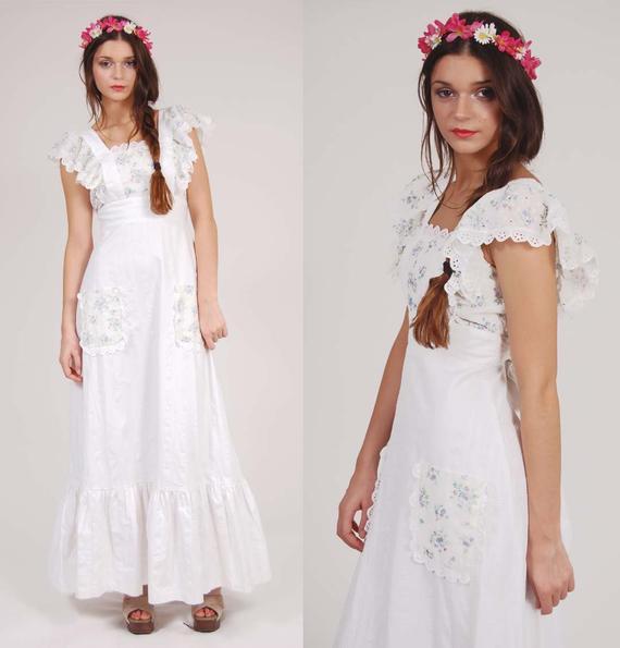 Vintage Weiß Prairie Maxi Kleid Junge Edwardian Von