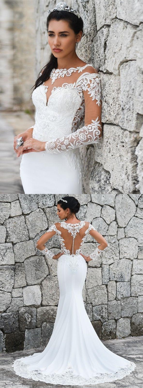 Vintage Weiße Spitze Meerjungfrau Brautkleider Für Braut