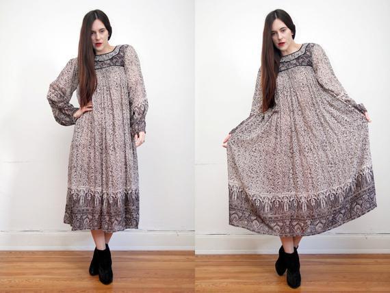 Vintageindische Baumwolle Gaze Boho Kleid Hippie Kleid