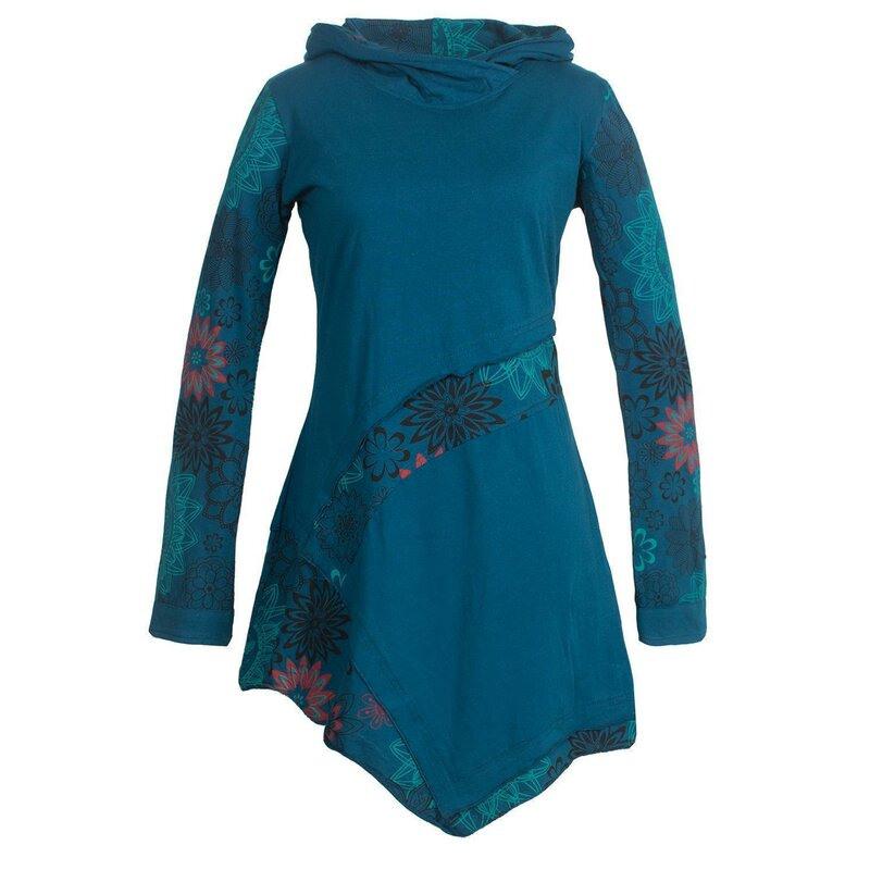 Vishes Asymmetrisches Langarm Damen Baumwoll Blumenkleid