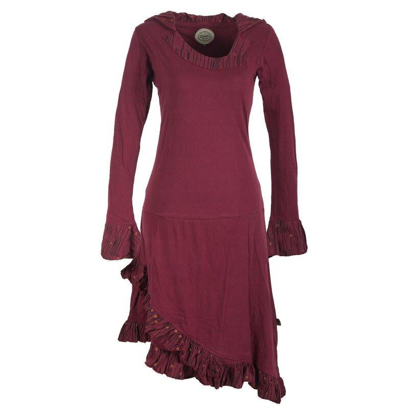 Vishes Asymmetrisches Langarm Hoodie Kleid Mit Rüschen