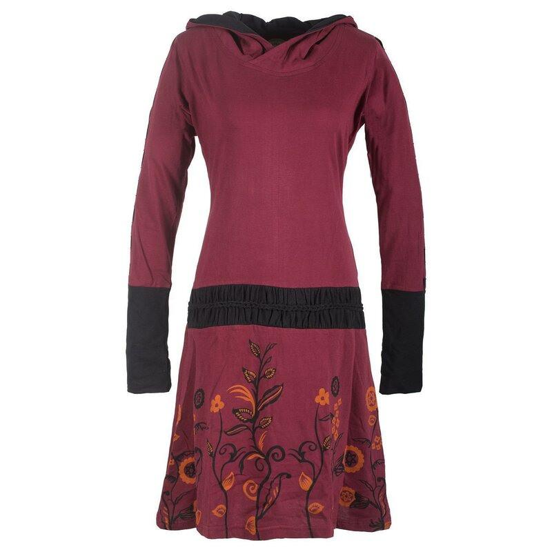Vishes  Bedrucktes Langarm Damen Blumen Kleid Mit Kapuze