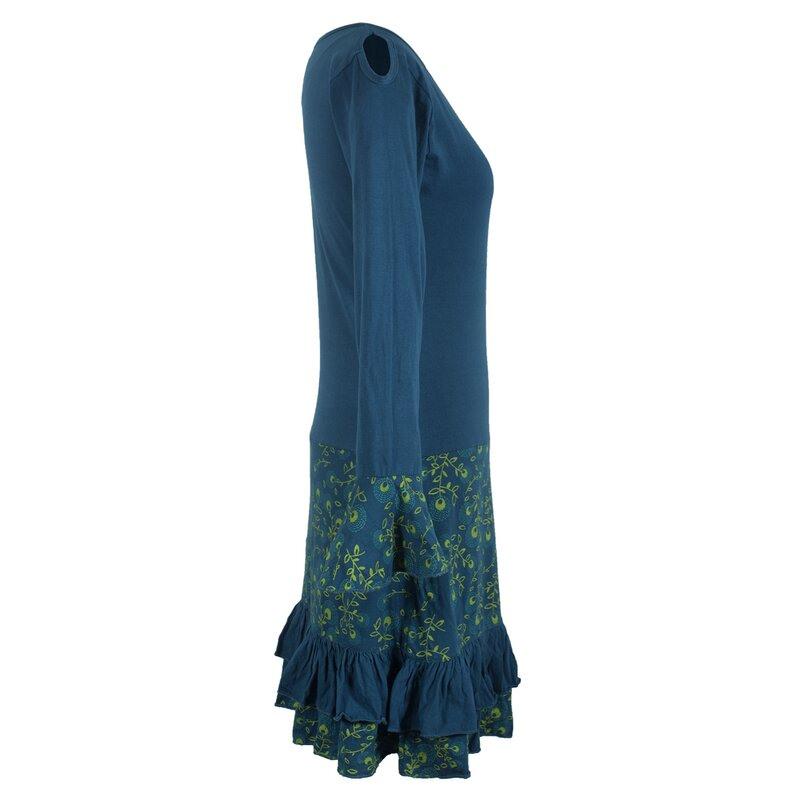 Vishes Langarm Herbst Damen Blümchenkleid Aus Baumwolle