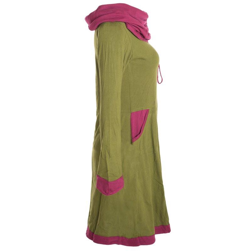 Vishes Langärmliges Lagenlook Kleid Mit Kapuzenschalkragen
