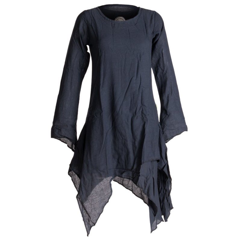 Vishes Langärmliges Zipfeliges Lagenlook Kleid / Tunika