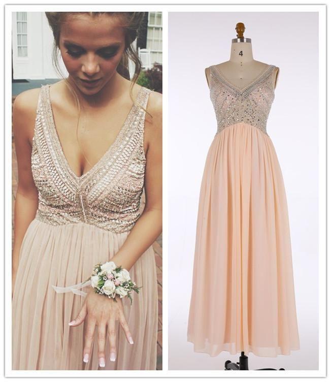 Vneck Prom Dresseslong Pink Evening Dress With Beading