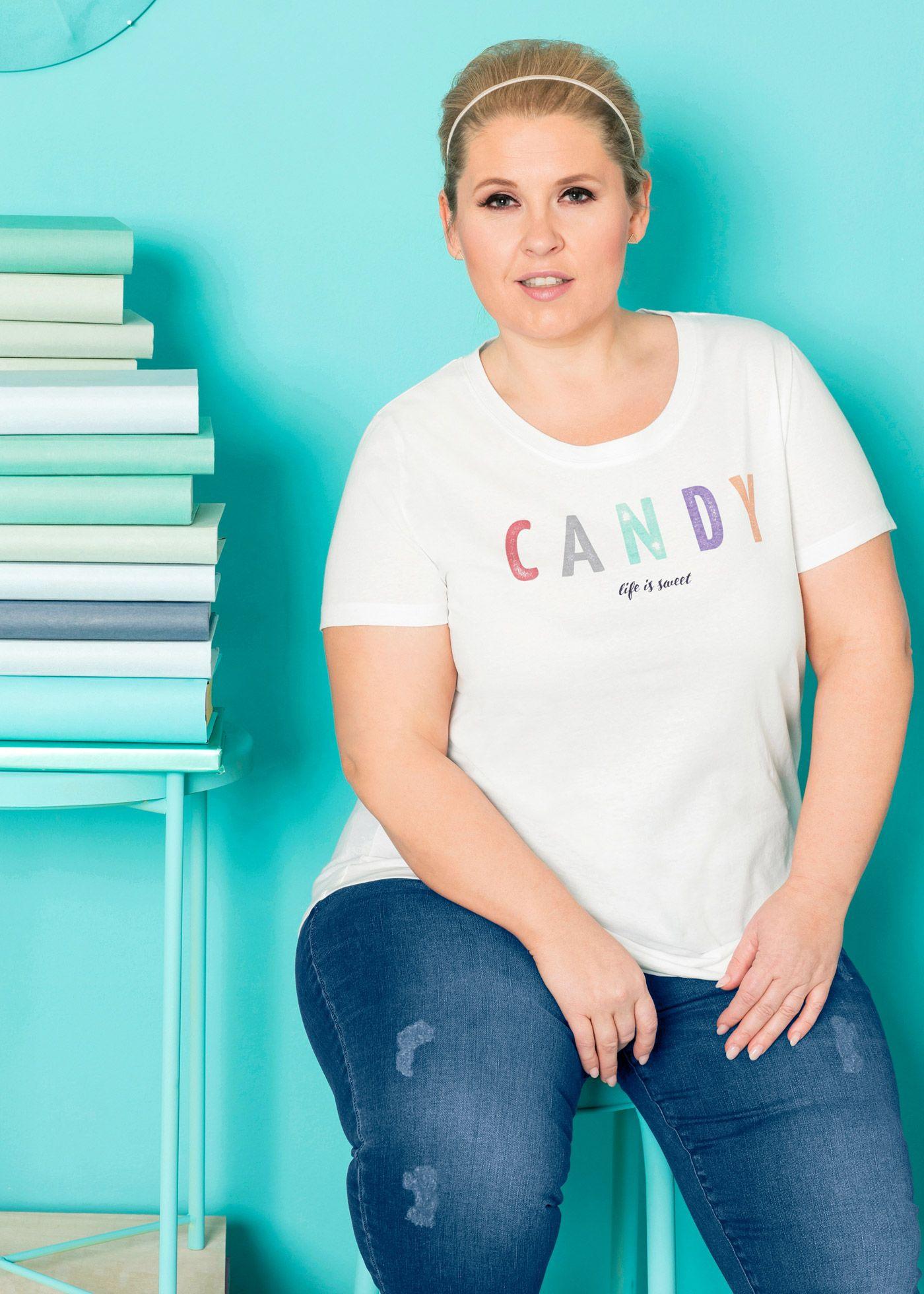 Vokuhila Shirt  Designt Von Maite Kelly Weiß Bedruckt