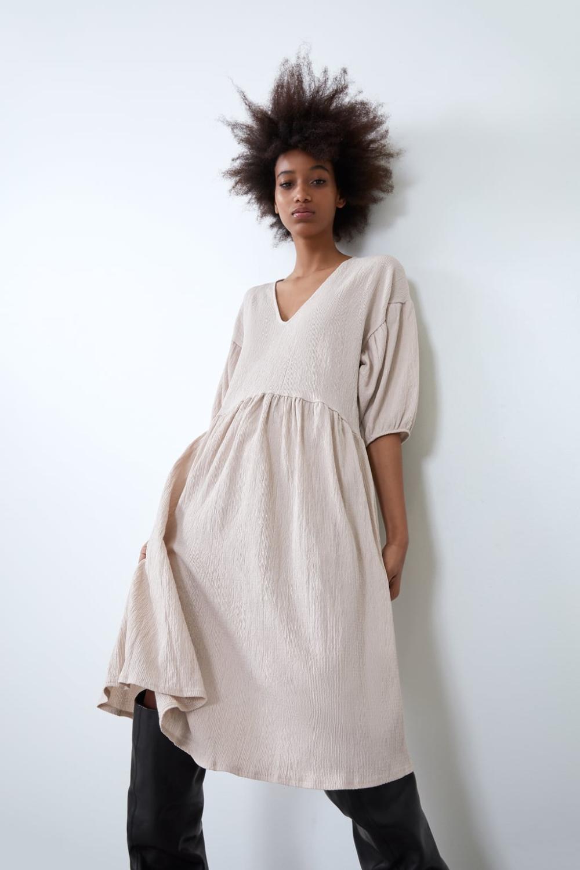 Voluminous Textured Weave Dress  Zara United States In