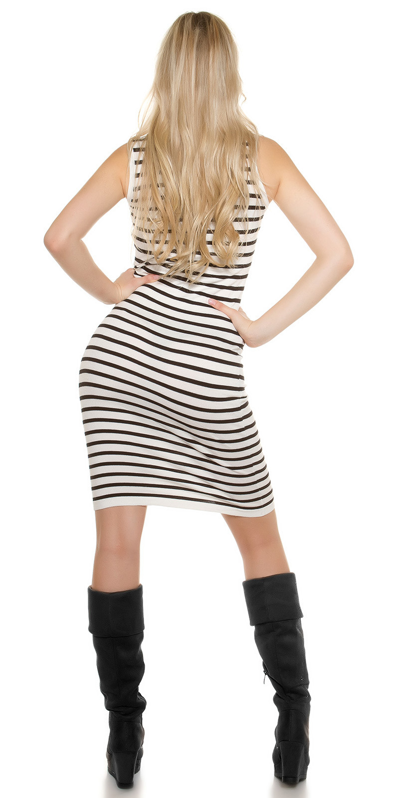 Vorschau Ärmelloses Gestreiftes Kleid Mit Rollkragen