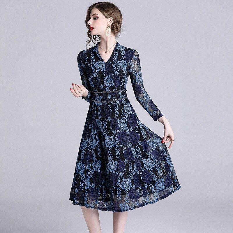 Waliicorners Spring Women Midi Party Blue Lace Dress