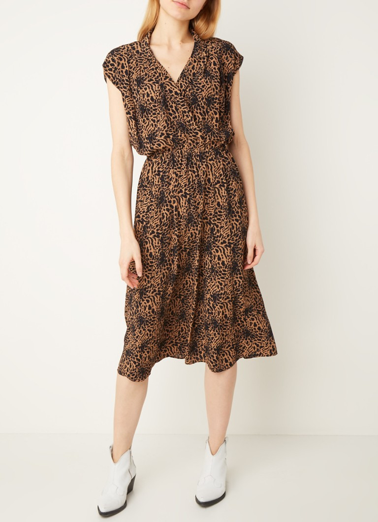 Warehouse Midi-Tunika-Kleid Mit Animal-Print • Sand • De